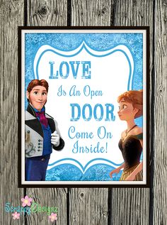 "Frozen Inspired Karaoke Party Printables - ""Love Is An Open Door"" 8"" x 10"" Poster"