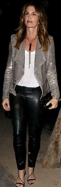 Who made Cindy Crawford's silver sequin jacket and black leather pants?