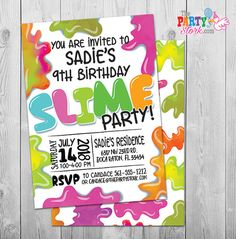 Slime Party Invitation, Slime Birthday Party Invitation, Slime Party Invite Girl or Boy Birthday Party Invitation Digital Invitations, Printable Invitations, Party Printables, 9th Birthday, It's Your Birthday, Invitation Design, Invite, Kids Birthday Party Invitations, Slime