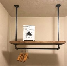 Laundry Room Ideas Discover Laundry Room Storage Rack Deep Industrial PIpe Clothes Rack Overhead Towel and Clothes Storage Rustic Organizer Iron Pipe Rack Laundry Room Shelves, Small Laundry Rooms, Laundry Room Organization, Laundry Room Design, Laundry Organizer, Laundry Closet, Laundry Drying, Laundry Hanging Rack, Rustic Laundry Rooms