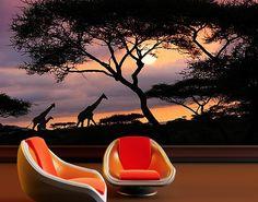 "#Papiertapete – #Fototapete No.101 ""AFRICAN #SAFARI"" 400x280cm #naturpur #nature #Tapete #Sonne #Landschaft #freedom #Natur #Abenteuer #Giraffen #Afrika"