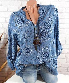 Plus Size Women Long Sleeve V-neck Print Loose Casual Blouse Tops Plus Size Casual, Plus Size Tops, Plus Size Women, Blouse Col V, V Neck Blouse, Cheap Blouses, Blouses For Women, Streetwear, Costume