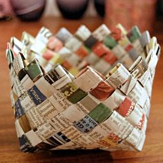Basket made from old newspapers!