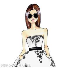 Sandra - Fashion Illustration - Brooke Hagel (92 BRL) ❤ liked on Polyvore featuring home, home decor, wall art, round wall art, black & white wall art, black and white home decor, black white home decor and floral wall art
