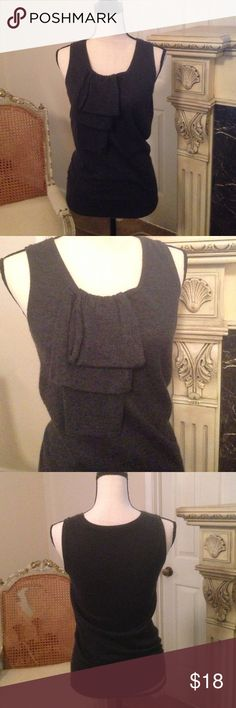 Ann Taylor Top EUC.... Slate colored, cashmere, sleeveless sweater Top. Layered fabric down the front. Ann Taylor Tops