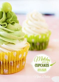 How Matcha Green Can YOU Get?  Green Vegan Matcha Cupcakes with veganvanilla/matcha  frosting - by niner bakes