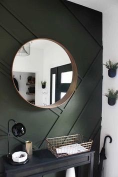This gorgeous modern entryway reveal is here! Love the dark green accent wall! From the beautiful bench, to the herringbone floors, to the black front door, and the wood accent feature wall. This entry is stunning! Wood Accents, Accent Walls In Living Room, Black Accent Walls, Dark Green Bathrooms, Wood Accent Wall, Modern Entryway, Feature Wall, Black Feature Wall, Green Accent Walls