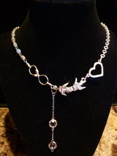 Swallow Me Up in Your Love for Infinity necklace with Swarovski elements dangle on Etsy, $38.00