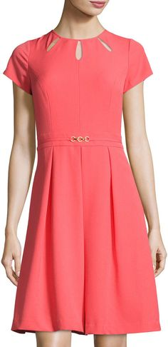 Ellen Tracy Kyhl Fit-and-Flare Short-Sleeve Dress, Coral