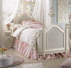 Emma's Treasures from Lea Furniture. Traditional styling mixed with a cozy time-worn appearance creates a collection of youth furniture sure to please any age girl. The distressed vintage white color finish, antiqued #pewter-color hardware, the use of cane and crystal-cut mirrors.