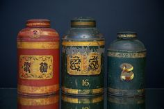 Three painted, lacquered and gilded Tea canisters.   Chinese export, 1870s