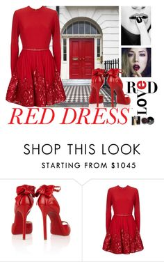 """""""Rocking the red dress."""" by petitemia ❤ liked on Polyvore featuring Christian Louboutin, Chanel, Elie Saab, women's clothing, women, female, woman, misses, juniors and reddress"""
