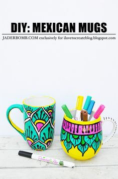 These gorgeous Mexican mugs pop with color AND they were made at home. Can you believe it? Make store quality mugs at home with Painted by Me supplies that are food safe!