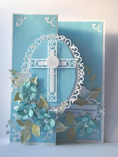 handmade first communion card . blue with white and pale green . die cut cross and frame . Confirmation Cards, Baptism Cards, Handmade Christening Cards, Easter Cards Religious, First Communion Cards, Christian Cards, Spellbinders Cards, Flip Cards, Embossed Cards