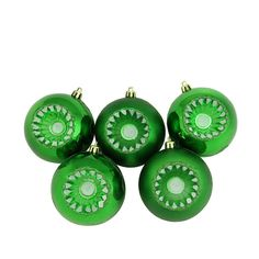 "5ct Shiny and Matte Xmas Green Retro Reflector Shatterproof Christmas Ball Ornaments 3.25"" (80mm)"