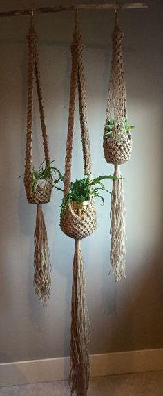 Macramé Plant Hangers Set of 3 Trio Matching Floor to Ceiling Xtra Large Long Jute Bohem