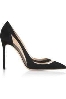 Gianvito Rossi Mesh-paneled suede pumps  | NET-A-PORTER Any shoe with mesh is glorious (and very cool in the summer months).   The Secret Ingredient™... LEFAtlanta.com