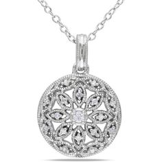 Miadora Sterling Silver 1/10ct TDW Diamond Necklace ($4.10) ❤ liked on Polyvore