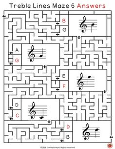 Woo-hoo!! Love these! Treble Lines Mazes - music worksheets for kid!! There are 12 and they have answer sheets too! ♫ CLICK through to read more or RE-PIN for later! ♫