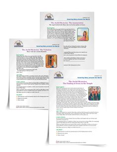 Download a Joyful Mysteries Handout and use it with your students or family to create posters of the five joyful mysteries | Sadlier Religion #Catholic #Catholics #Catechist