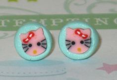 Pink Kitty Stud Earrings 7mm Polymer Clay Earrings by DIYArtMart