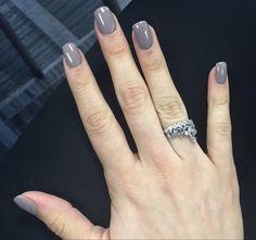 Grey acrylic gel shellac nails