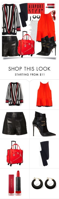"""#airportstyle #red #black"" by isabella-seelenkunst ❤ liked on Polyvore featuring WithChic, Milly, RED Valentino, Balmain, Hang Accessories, Madewell, Max Factor, Palm Beach Jewelry and airportstyle"