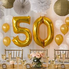 Gold Number Balloon Shop Giant Gold Number 0 Balloon, Gold Pearl Balloons Gold Fluffy Decorations Gold Mini Paper Fan Decorations White Balloons and 50th Wedding Anniversary Decorations, 50 Wedding Anniversary Gifts, Golden Anniversary, Anniversary Parties, Anniversary Celebration Ideas, Anniversary Ideas For Parents, Aniversary Ideas, Wedding Favors, Wedding Invitations
