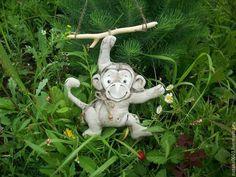 """Игрушки животные, ручной работы. Ярмарка Мастеров - ручная работа. Купить Льняная обезьянка на веточке """"Желаю Счастья!!! """". Handmade."""