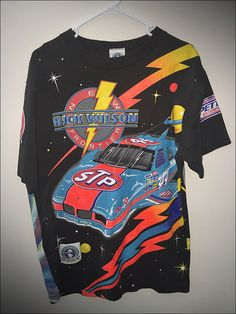 Vintage 90's NASCAR STP Racing All Over Print Double Sided Shirt - Size Large by RackRaidersVtg on Etsy