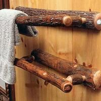 Lodge Furniture and Lodge Decor Hickory Log Bathroom Towel Bar Justin! They have a pretty cool description of harvesting the wood. Just click the pic and it will take you to the website. Rustic Bathroom Designs, Rustic Bathroom Decor, Rustic Bathrooms, Rustic Decor, Rustic Wood, Lodge Bathroom, Upstairs Bathrooms, Bathroom Ideas, Rustic Modern
