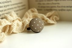 Beige Polka Dot Ring Retro Button Ring Fabric by EfZinCreations Polka Dot Earrings, Creation Crafts, Bronze Ring, Fabric Covered Button, Handmade Jewelry, Unique Jewelry, Polka Dots, Beige, Jewels