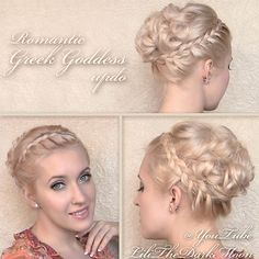 """Tried...halfway succeeded then did my own thing.  Ended up pretty nice with a good idea for every day summer (side part, lace braid both side-fronts and put hair up in ponytail).  """"Greek Goddess hairstyle - romantic braided updo with curls for medium long hair from tutorial"""" https://www.youtube.com/watch?v=wZykS1hBPyg"""