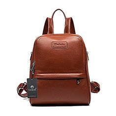 YAAGLE Womens Genuine Cowhide Leather 15.6-inch Laptop Backpack Casual Daypack Rucksack Everyday Book School Travel Bag Brown