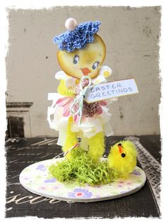 Vintage Retro Style Easter Chick Chickie Bumpy Bump Chenille Whimsy Whimsical Figurine