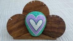 Handpainted stone heart dottilism