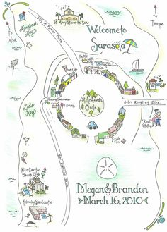 Custom Wedding Map for Destination Wedding
