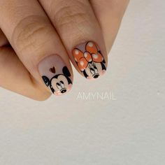 Discovered by Julia🖤. Find images and videos about nails, design and manicure on We Heart It - the app to get lost in what you love. Nail Art Disney, Disney Acrylic Nails, Mickey Nails, Minnie Mouse Nails, Cute Nail Art, Cute Nails, Nail Art Designs, Design Art, Watermelon Nails