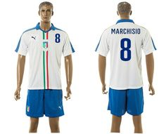 2015-2016 Italy team MARCHISIO #8 white soccer jersey away