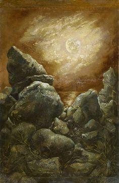 Georg Grosz (German, 1893-1959), Rocks at Bornholm, 1940. Oil on paper laid on cardboard, 55.3 x 36.2 cm.