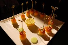 For the cocktail reception, Food for Thought provided passed appetizers such as bites of melon and prosciutto. Photo: BizBash