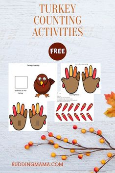 A fun way to teach various ways of counting using this Thanksgiving turkey hand counters. Some of the different ways to count including roman numerals, basic counting up to 30, and skip counting, Fall Preschool Activities, Thanksgiving Activities For Kids, Counting Activities, Preschool Math, Thanksgiving Turkey, Hand Turkey Craft, Skip Counting, Addition And Subtraction, Roman Numerals