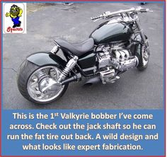 """Honda Valkyrie """"power bobber"""". check out the jack-shaft operated drive shaft allowing that wwiiddee rear wheel!"""