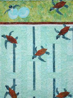 Sea Turtle Quilted Wallhanging by Jackiesewingstudio on Etsy https://www.etsy.com/listing/193009899/sea-turtle-quilted-wallhanging