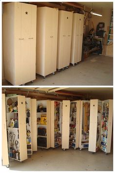 4 homemade rolling cabinets to organize all the tools in the garage. A DIYer's dream! These cabinets can be modified to contain other projects.
