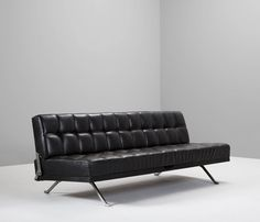 Sofa Daybed by Johannes Spalt in Black Leather