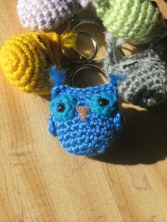 Blue Owlet Keychain by indigocrochet on Etsy, $11.95