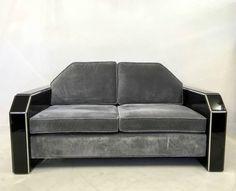 Art Deco Shaped American Black Lucite and Grey Velvet Sofa Retro Furniture, Antique Furniture, Grey Velvet Sofa, Mid Century Furniture, Sofas, Love Seat, Art Deco, Couch, Shapes
