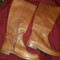Coach Boots Tan leather boots made by Coach. Worn a few times but in excellent condition.  On Hold Coach Shoes