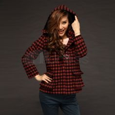 Wool Coats-Red and black plaid hooded Ms. coats